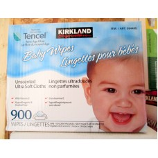 Wipes - Baby Wipes - Kirkland Brand - Unscented - Hypoallergenic & Alcohol Free - With Vitamin E / 1 x 900 Wipes