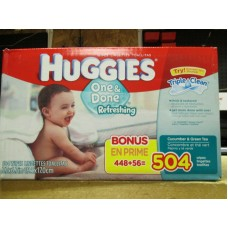Wipes - Baby Wipes - Huggies Brand - Cucumber& Green Tea Scent /1 x 504 Wipes